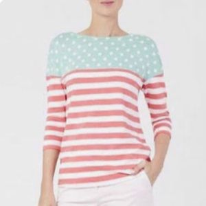 Boden Striped Polka Dot Three Quarter Sleeve Top
